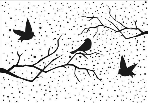 Nellies Prägefolder Ast mit Vögel u. Schneeflocken / Christmas Scene With Birds EFE027