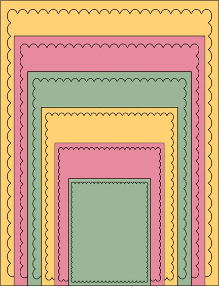 Cheery Lynn Card Makers Stackers nesting rectangle scalloped ST0