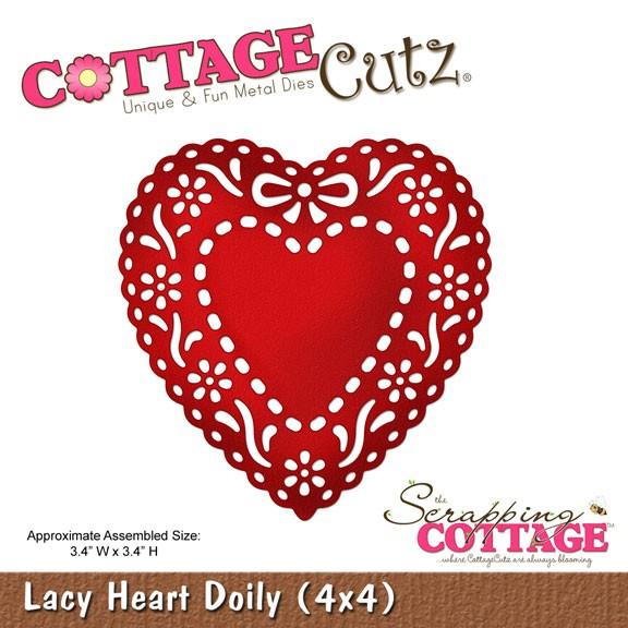 CottageCutz Stanzform Lacy Herz Doily / lacy heart doily SC CC4x4-319