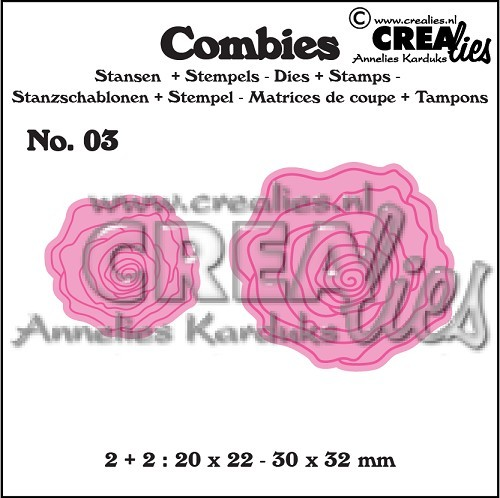 Crealies Stanzform-u. Stempelset Nr. 3 Rosen klein CLCB03