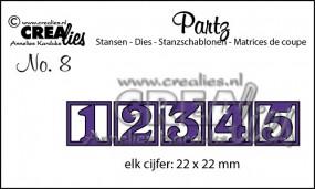 Crealies Partz Nr. 8 Zahlen 1 - 5 CLPartz08