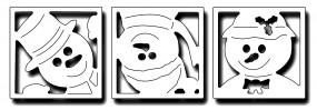 Frantic Stampers Stanzform Schneemänner 3-er im quadr. Rahmen / Peeking Snow Family FRA-DIE-10049