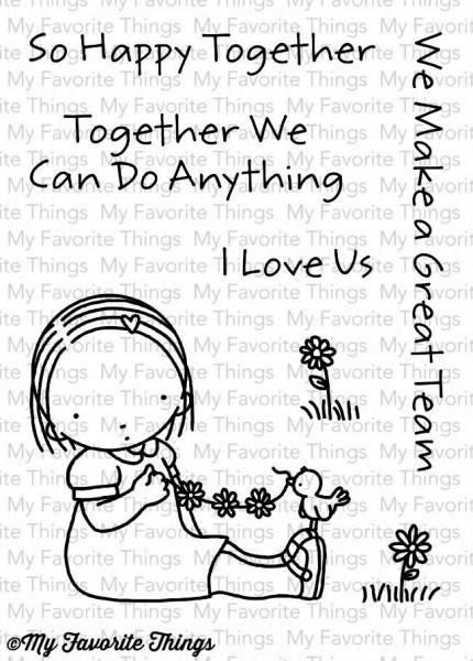 My Favorite Things Clear Stamps Mädchen mit Vögelchen u. Blumen / Happy Together PI-259