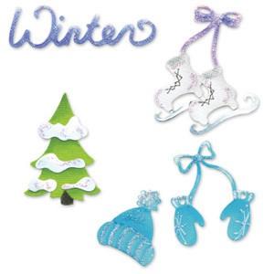 Sizzix Stanzform Sizzlits SMALL 4-er Set Sizzlits 4-er Winterset # 2 / winter set # 2 655318