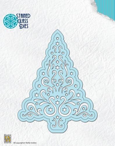 Nellie Snellen Stanz-u. Prägeform Stained Glass Tannenbaum / Christmas Tree SGD007 ( hell-türkis )