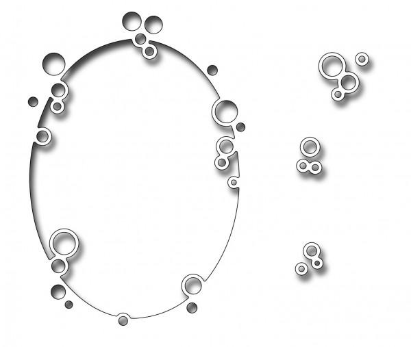 Frantic Stampers Stanzform Rahmen oval mit Blasen / Bubble Oval FRA-DIE-10233