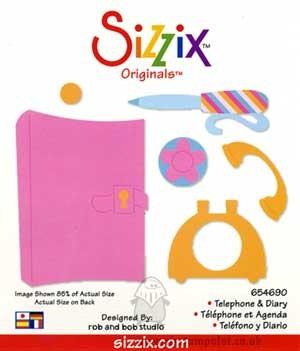 Sizzix Originals Large Stanzform Telefon & Tagebuch / telephone & diary 38-1200 / 654690