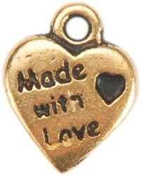 """Herz-Anhänger GOLD mit innenliegendem kleinem Herz """" Made"""
