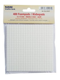 Reddy Cards Klebepads 5 mm x 5 mm , Dicke 3 mm weiss 91017