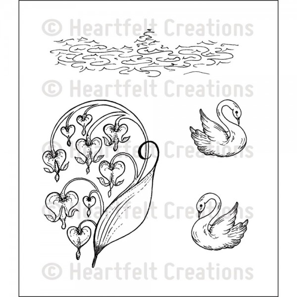 Heartfelt Creations Stempel Schwäne u. tränende Herzen / Romantique Swans HCPC-3638