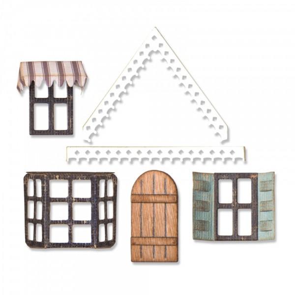 Sizzix Thinlits Stanzform Dach, Fenster u. Tür / Village Fixer Upper 662699