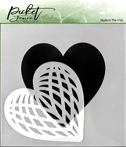 Picket Fence Studios STENCIL SPLICED HEART SC-166