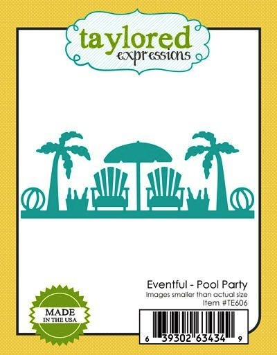 Taylored Expressions Stanzform Border Palmen, Stranstühle u. Schirm / Eventful - Pool Party TE606