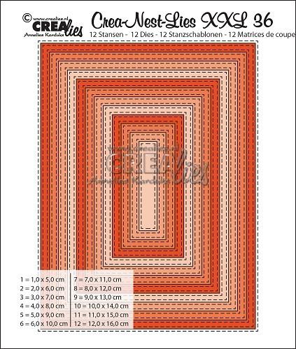 Crealies Stanzform Rechtecke mit Doppel-Nähnaht XXL / Double Stitch Rectangles CLNestXXL36