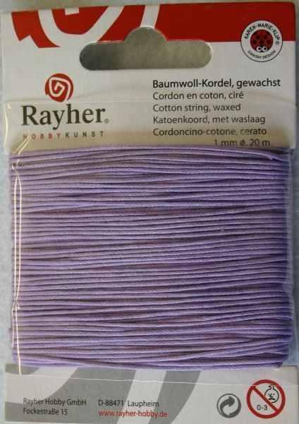 Baumwoll-Kordel gewachst 1 mm FLIEDER 51-691-35