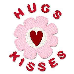 Sizzix Stanzform BIGZ Worte Hugs & Kisses mit Blume / Phrase Hugs & Kisses w/ Flower 655698