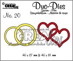Crealies Duo Dies Hochzeitsringe u. verschlungene Herzen Nr.19 CLDD19