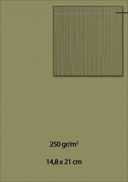 Leinenkarton A5 DAMAST OLIVE - GRÜN ( 10 Stück )