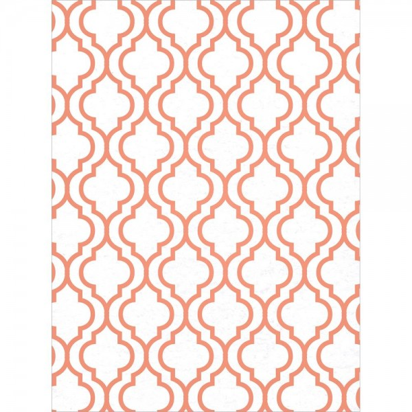 Filz weiss mit rotem Morrocan Muster / Morocan-White w/Tangerine