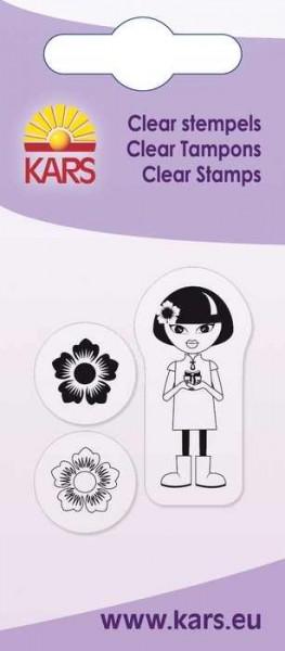 Clear Stempel Mädchen u. Blumen 180009/2004