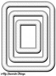 Dienamics Stanzf. Rahmen rechteckig abgerundet mit Nähnaht/Stitched Rounded Rectangle Frames MFT-925