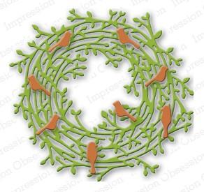 Impression Obsession Stanzform Kranz & Vögel/Leafy Wreath DIE090
