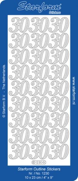 Starform Sticker SILBER Zahlen ' 30 ' 1230s