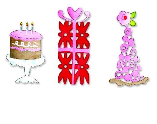 Border Kuchen, Geschenk u. Partyhut / cake,gift & hat 656 103