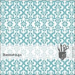 Folie transparent mit türkisenfloralem geflocktem Muster 30,5 x