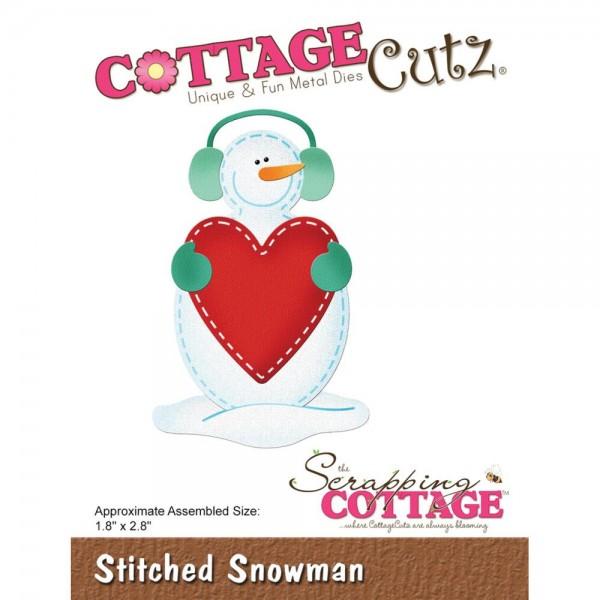 CottageCutz Stanzform Schneemann mit Kopfhörer u. Herz / Stitched Snowman CC-525