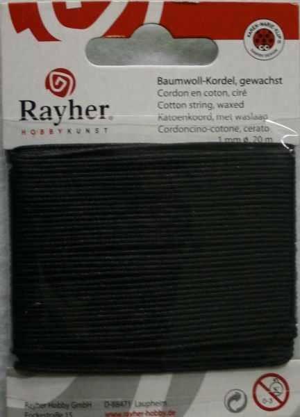 Rayher Baumwoll-Kordel gewachst 1 mm SCHWARZ 51-691-01