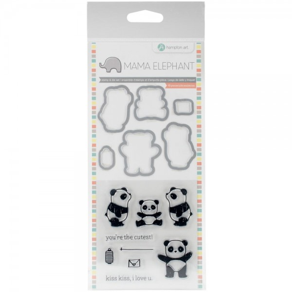 Hampton Art Mama Elephant Stanzform-u. Stempelset Panda SC0765