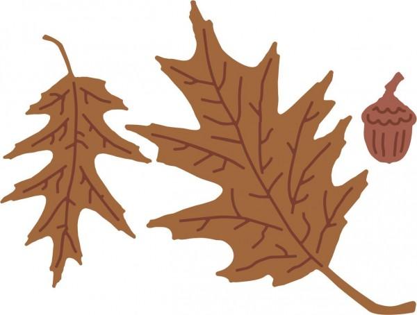 Cheery Lynn Stanz-u.Prägef.& Schablone Oak Leaves & Acron QF121