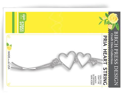 Birch Press Design Stanzform Herz an Fäden als Border / Pria Heart String 57051