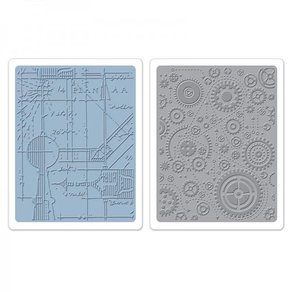 Sizzix Prägefolderset Blueprint & Gears 658580