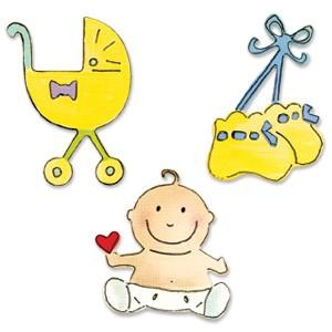 Sizzix Stanzform Sizzlits SMALL 3-er Baby Set # 5 / baby set # 5 655506