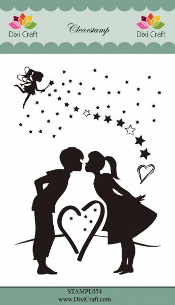 Dixi Craft Clear Stempel Paar u. Fee mit Zauberstab u. Sternen / Fairy & Love STAMPL054