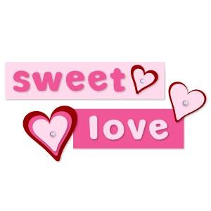 Sizzix Stanzform BIGZ Worte love u. sweet /phrase sweet love w/hearts 655687