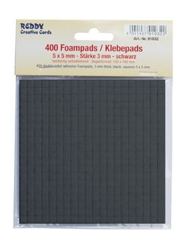 Reddy Cards Klebepads 5 mm x 5 mm schwarz, Stärke 3 mm 91032