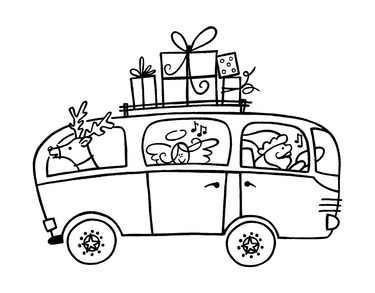 Stempel Bus, beladen mit Geschenke, mit Nikilaus etc.1827328