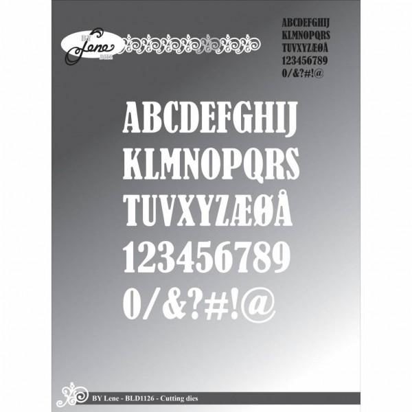 Lene Stanzform Alphabet Großbuchstaben , Zahlen u. Zeichen 1,5 cm BLD1126