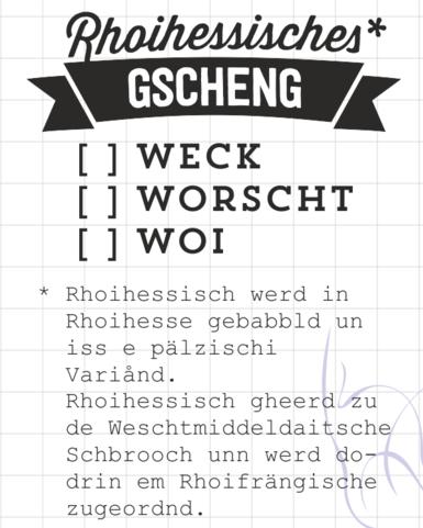 AEH Design Stempelgumm ' Rhoihessisches Gscheng ' 1324 F