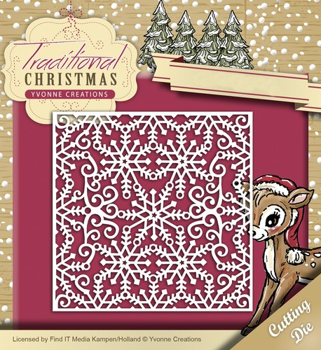 Yvonne Creations Stanzform Schneeflocken Hintergrund / Snowflake Frame YCD10059