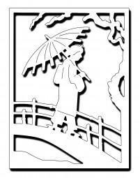 Frantic Stampers Stanzform Geisha auf Brücke mit Schirm / Geisha Crossing Bridge Panel FRA-DIE-10059