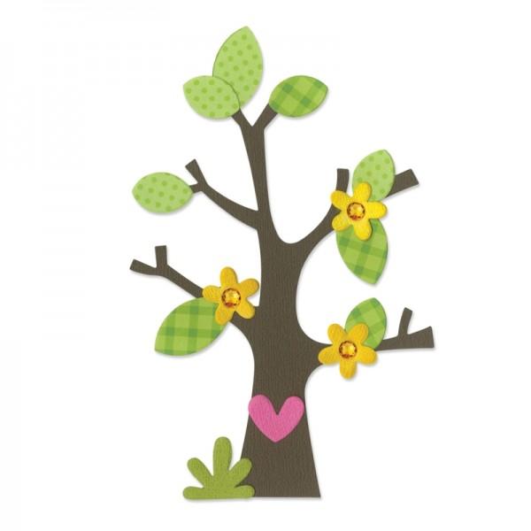 Sizzix Stanzform BIGZ Baum / Tree w/Flower , Heart & Leaves 660404