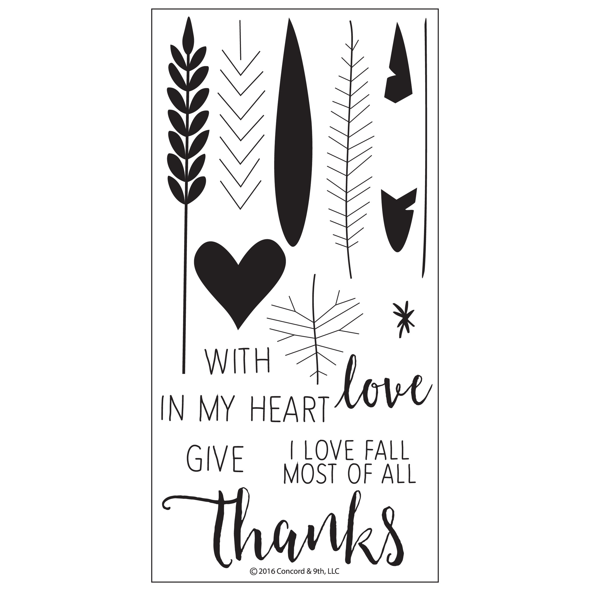 Concord & 9th Clearstempel Set Blätter Give Thanks
