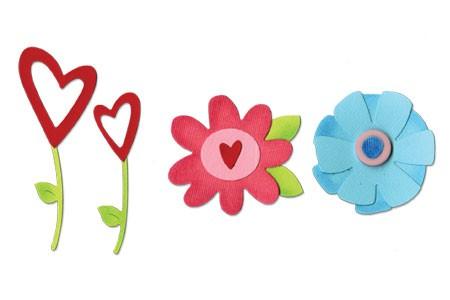 Sizzix Stanzform Sizzlits MEDIUM 3-er Blumen-Set # 4 / flower Set # 4 656762