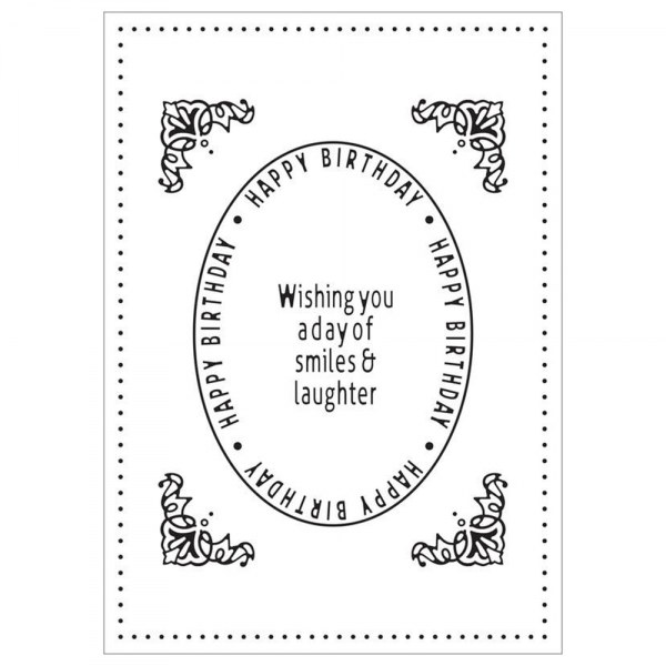 Cheery Lynn Designs Embossing Folder BIRTHDAY OVAL IOEEF02