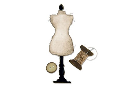 Sizzix Stanzform BIGZ Modell-Puppe, Garn & Knopf / Sewing Room 657186