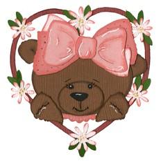 Bär mit Schleife in Herzrahmen / heart bear 0338